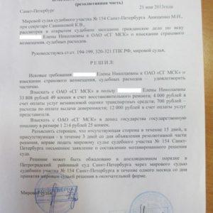 Решение суда по Каско. Взыскано c «СГ МСК» 50 тыс. рублей
