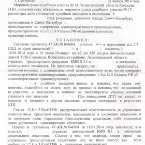 Решение суда по возврату прав по ст. 12.8 ч.1 №2. Отмена правонарушения