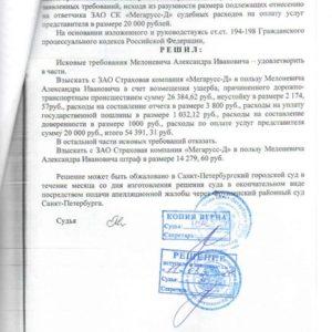 Решение суда по Каско. Взыскано c «Мегарусс-Д» 54 тыс. рублей