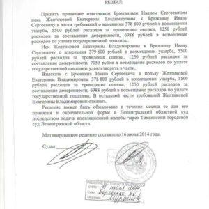Решение суда по Каско. Суброгация. Взыскано 392 тыс. рублей