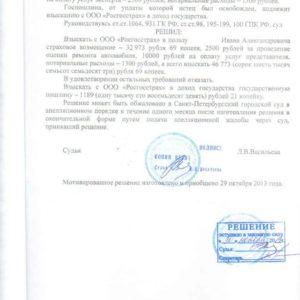 Решение суда по Каско. Взыскано c «Росгосстрах» 46 тыс. рублей