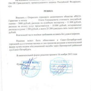 Решение суда по Осаго. Взыскано c «Ресо-Гарантия» 25 200 рублей