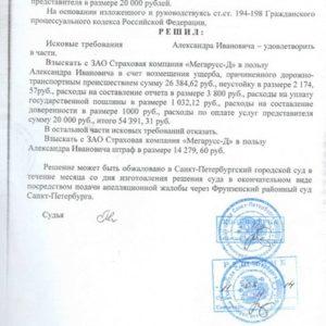 Решение суда по Осаго. Взыскано c «Мегарусс-Д» 68 669 рублей